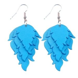 NWTBlue Triple Stacked Leather Earrings